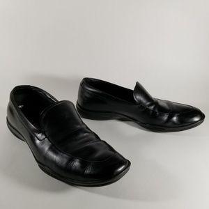 Prada Black Leather Slip On Loafers